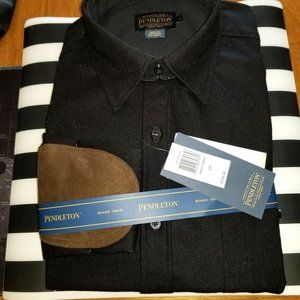 NWT! Pendleton Blk Dress Shirt W/Leather Elbows L
